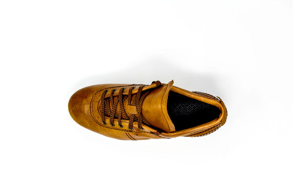Akuna Cinquestelle Storica HG Soccer Cleats, Brown Calf Leather, 19 Conical Studs, Aerial View