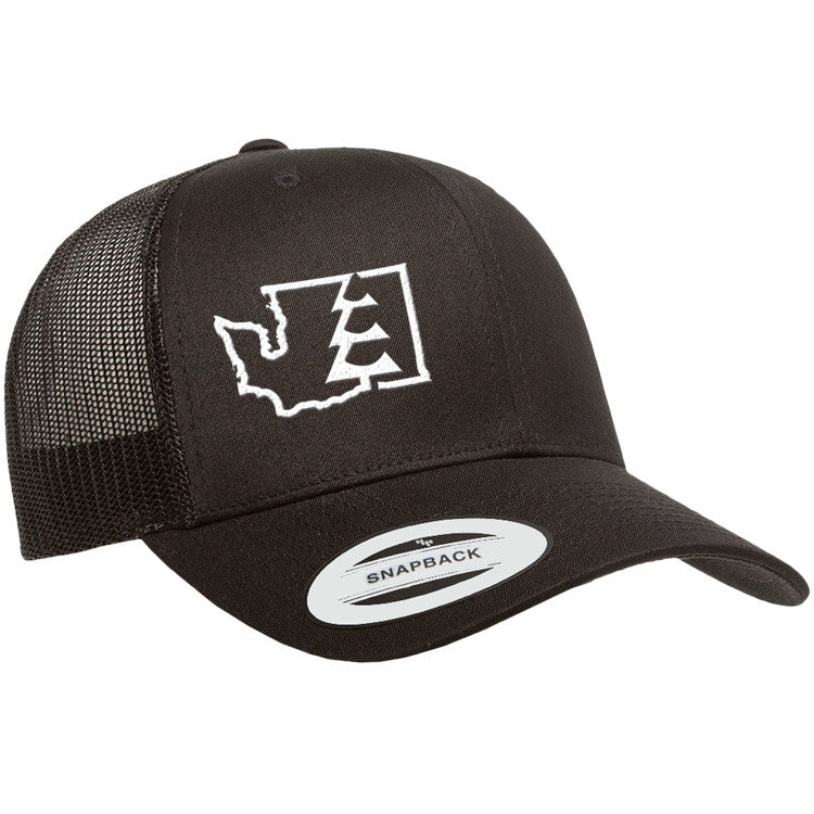 State Tree WA Trucker Hat Black/Black