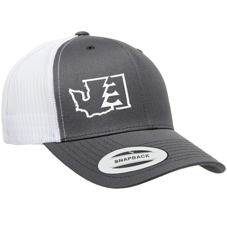 State Tree WA Trucker Hat Charcoal/White