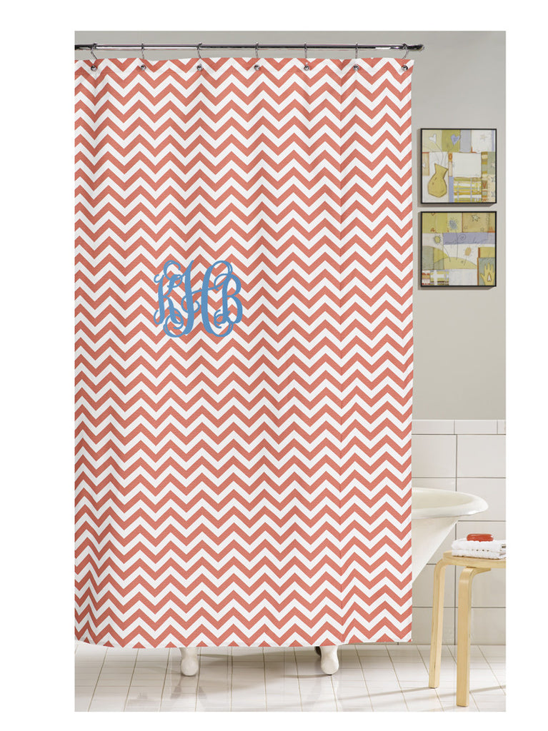 coral monogrammed shower curtain by american made dorm and home