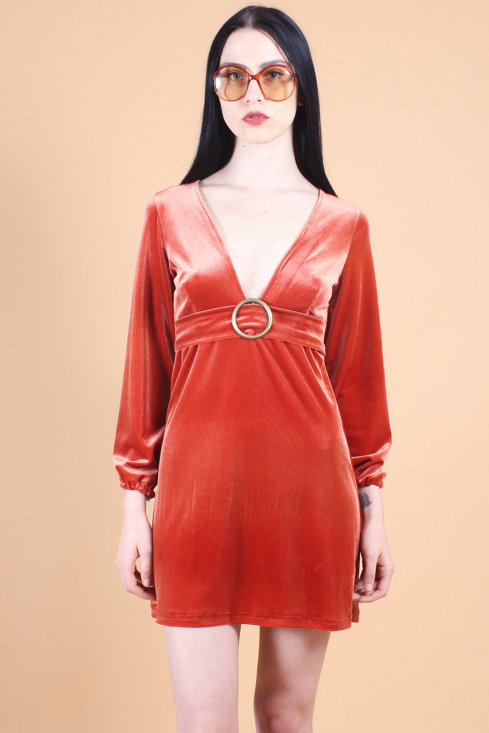 Marianne Faithfull Velvet Dress in Peach