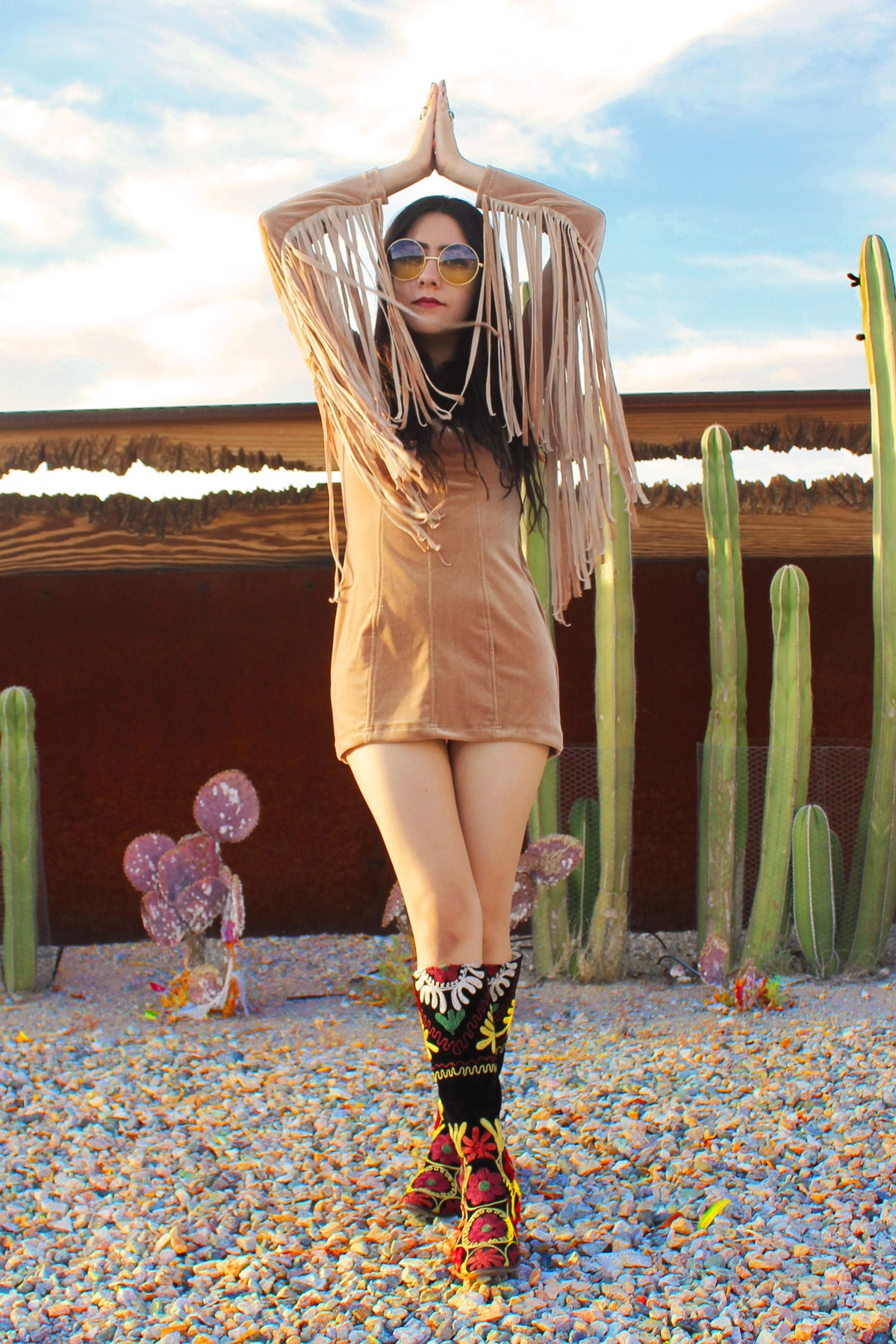 Heartbreaker Fringe Velvet Dress in Gold