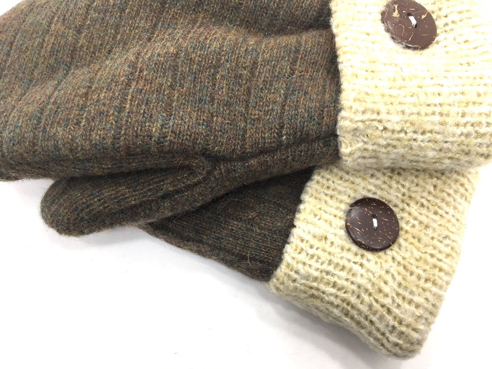 Brown-Tan Lambs Wool Mittens - Medium - 1680-Womens-The Mitten Company