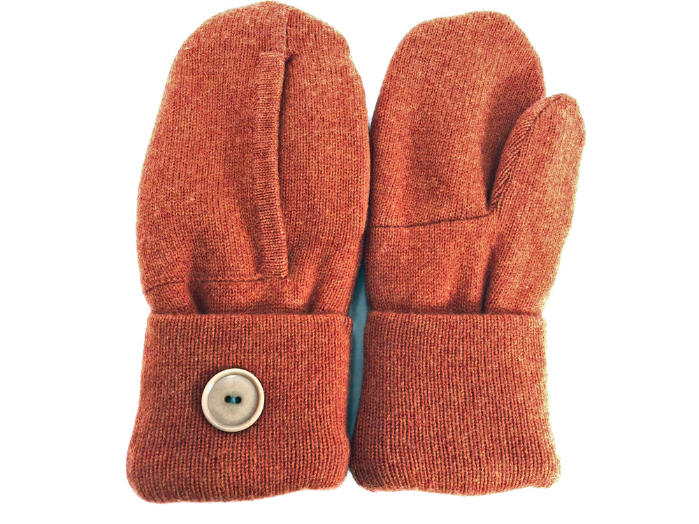 Orange Cashmere Wool Mittens - Medium - 1743-Womens-The Mitten Company