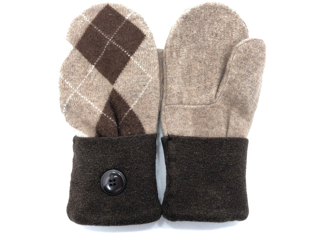 Brown-Tan Cashmere Wool Mittens - Medium - 1748-Womens-The Mitten Company