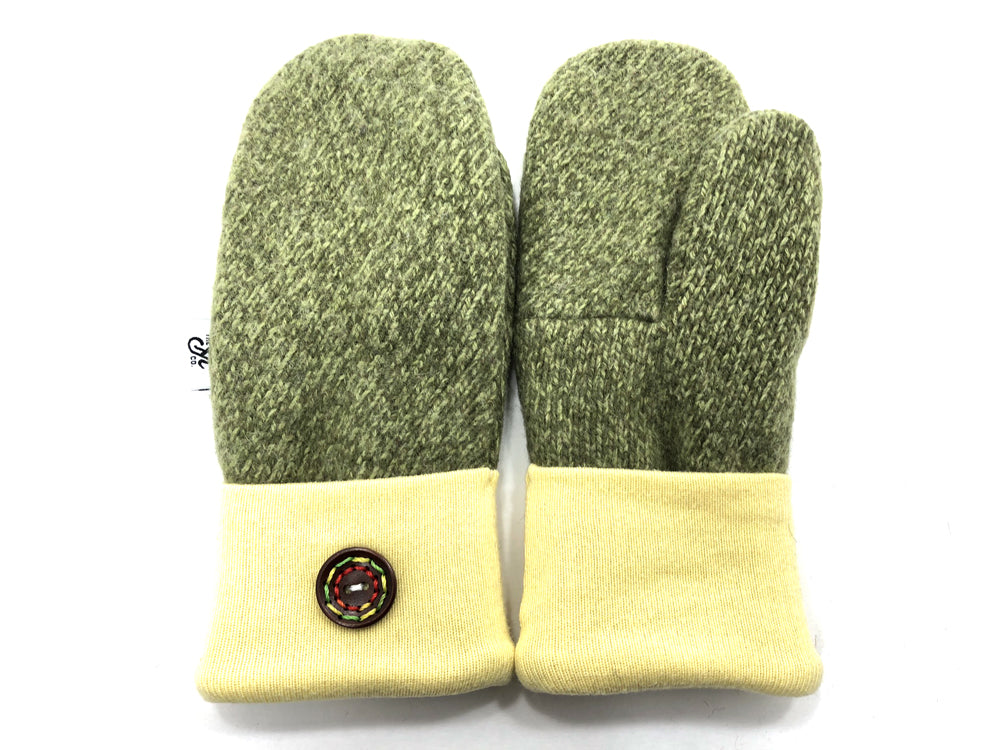 Green-Yellow Shetland Wool Mittens - Small - 1852-Womens-The Mitten Company