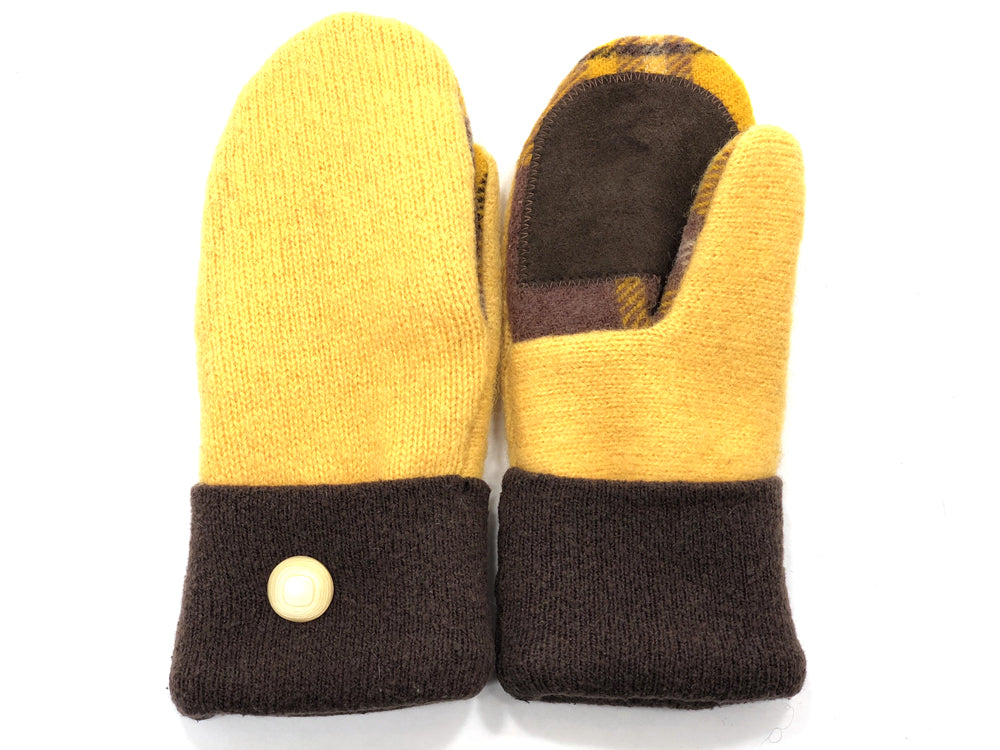 Brown-Yellow Merino Wool Women's Drivers Mittens - Small - 1881-Womens-The Mitten Company