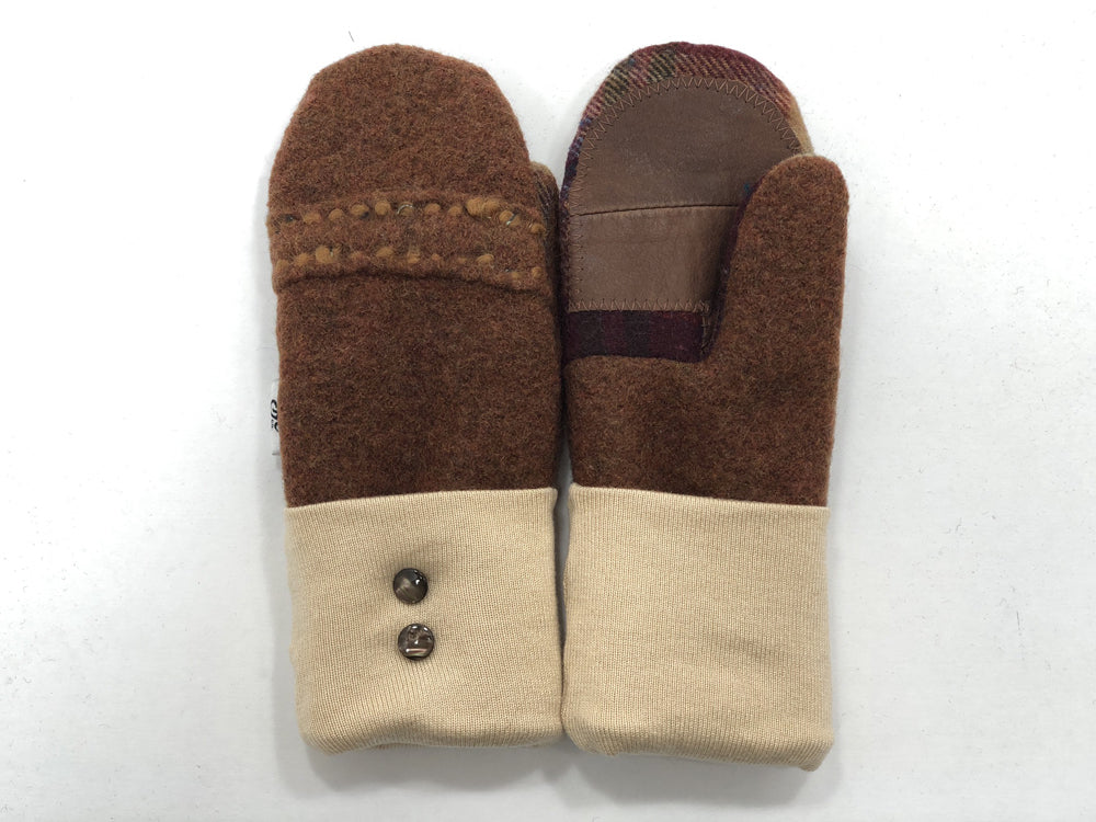 Brown-Tan Boiled Wool Women's Drivers Mittens - Small - 1886-Womens-The Mitten Company