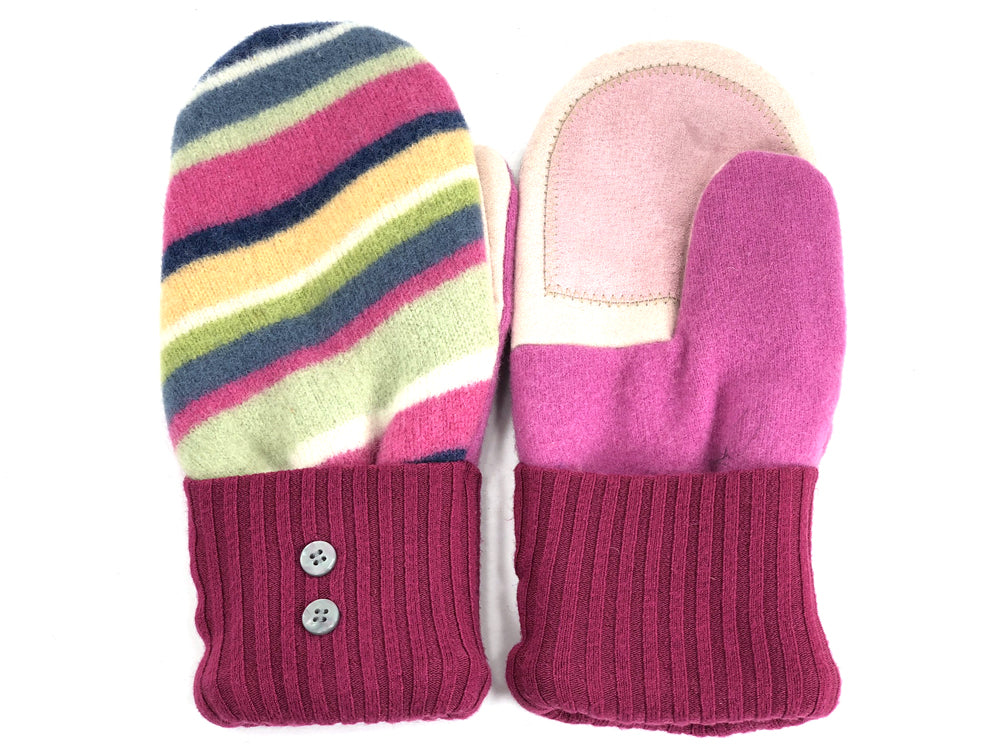 Pink-Green-Blue Lambs Wool Women's Drivers Mittens - Medium - 1925-Womens-The Mitten Company