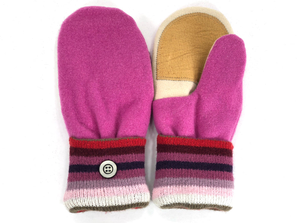 Pink-White Merino Wool Women's Driver's Mittens - Medium - 2003-Womens-The Mitten Company
