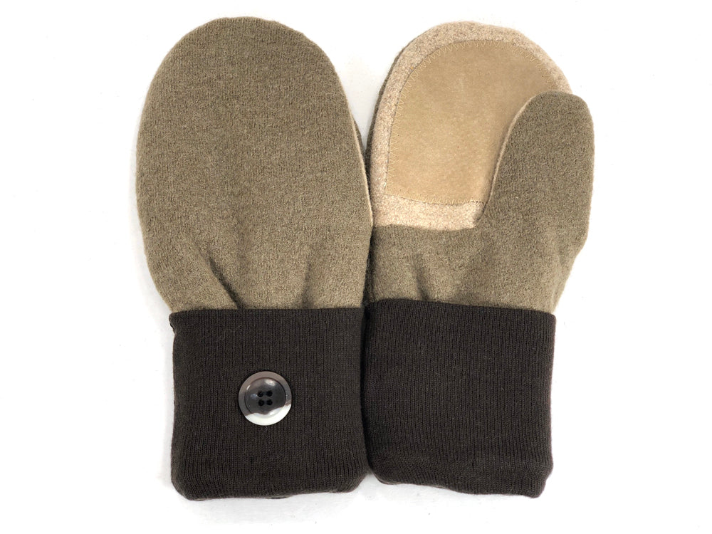 Brown-Tan Merino Wool Women's Driver's Mittens - Medium - 2004-Womens-The Mitten Company