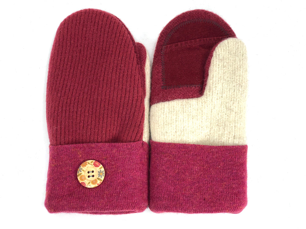 Red-Pink-White Merino Wool Women's Driver's Mittens - Medium - 2008-Womens-The Mitten Company