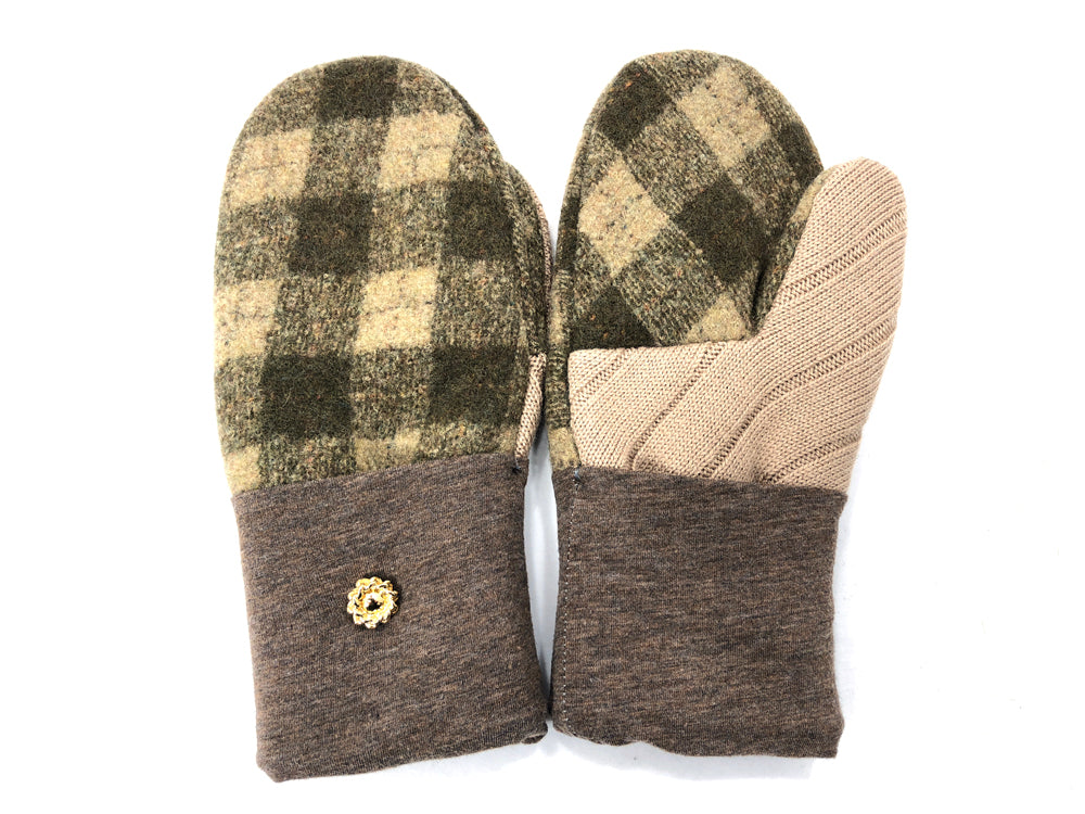 Green-Brown Boiled Wool Women's Mittens - Medium - 2060-Womens-The Mitten Company