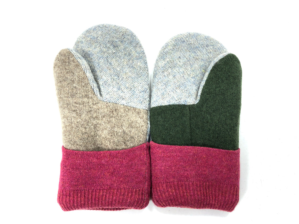 Burgundy-Green-Gray Lambs Wool Women's Mittens - Medium - 2075-Womens-The Mitten Company