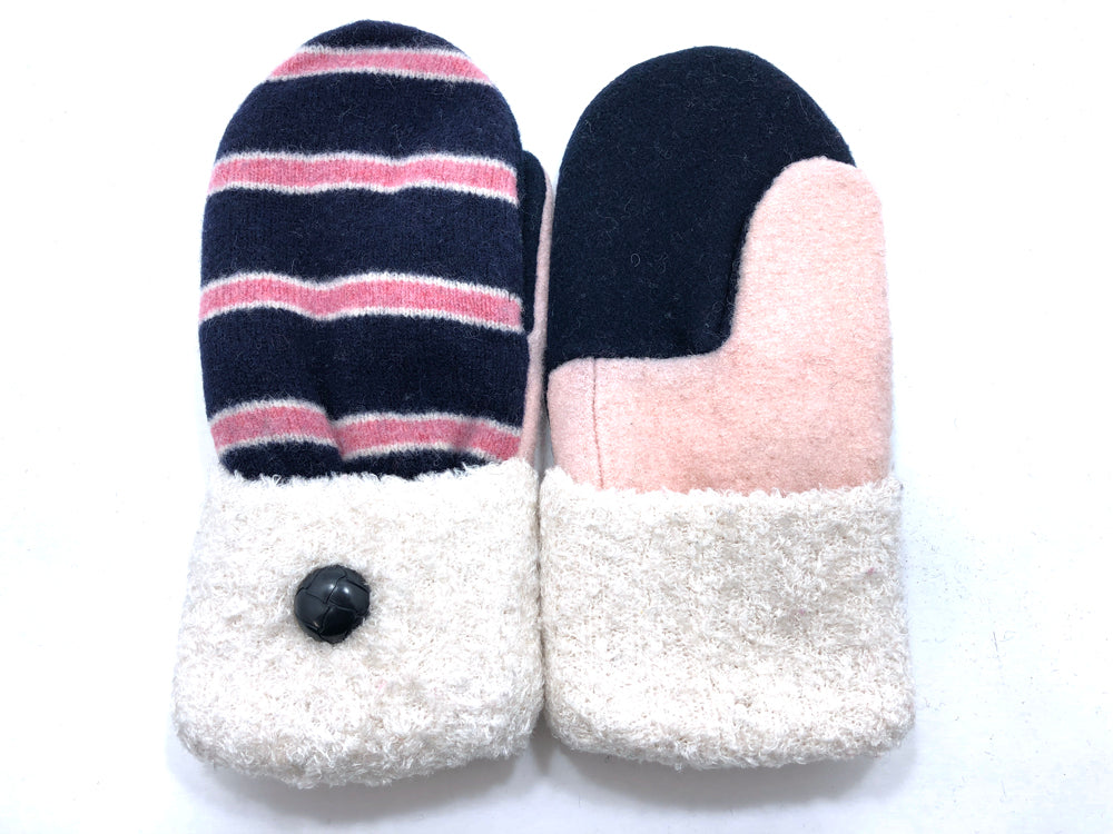 Pink-Blue-White Lambs Wool Women's Mittens - Medium - 2076-Womens-The Mitten Company