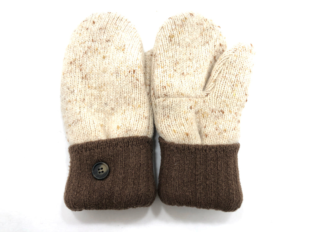 Brown-Tan Lambs Wool Women's Mittens - Medium - 2082-Womens-The Mitten Company