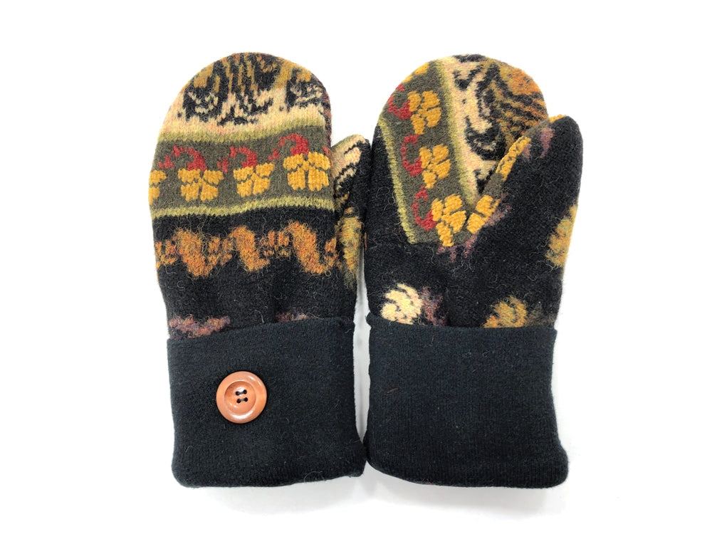 Black-Green-Brown Shetland Wool Women's Mittens - Medium - 2086-Womens-The Mitten Company