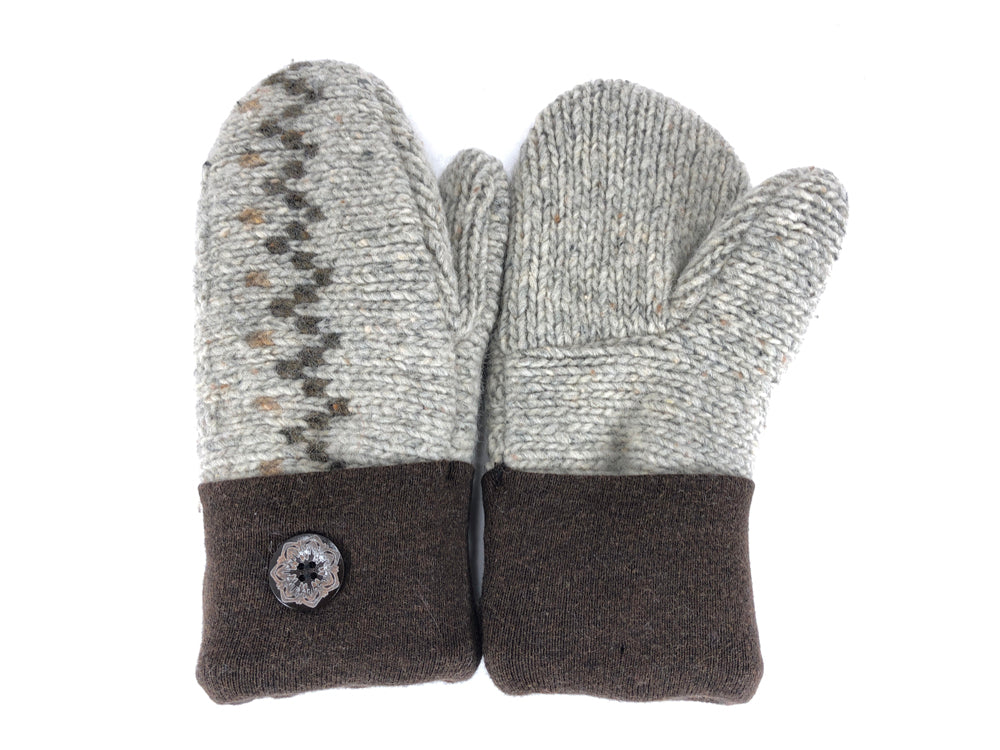 Brown-Tan Shetland Wool Women's Mittens - Medium - 2097-Womens-The Mitten Company