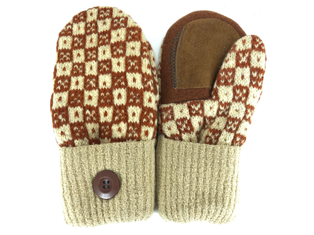 Brown-Beige Shetland Wool Women's Drivers Mittens - Medium - 2111-Womens-The Mitten Company