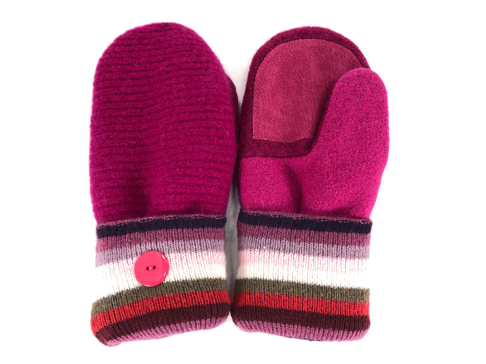 Pink-White-Green Shetland Wool Women's Drivers Mittens - Medium - 2113-Womens-The Mitten Company