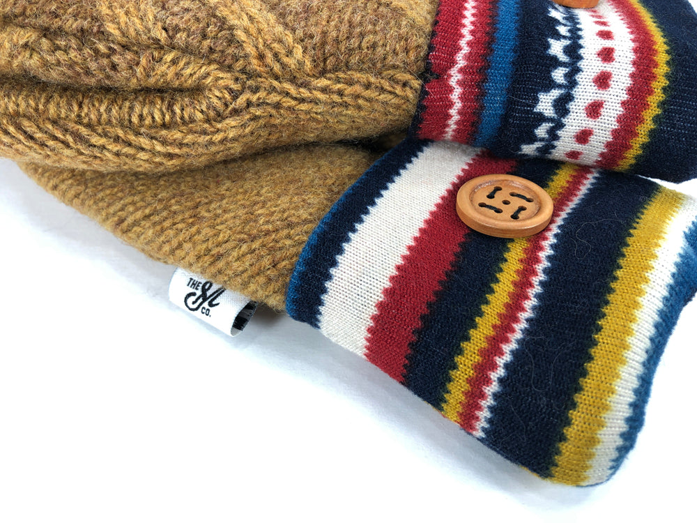 Brown-Blue-Red Shetland Wool Women's Mittens - Medium - 2127-Womens-The Mitten Company