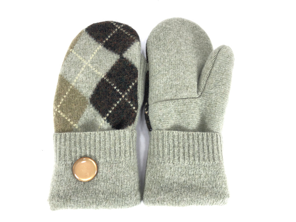 Green-Brown Merino Wool Women's Mittens - Medium - 2144-Womens-The Mitten Company