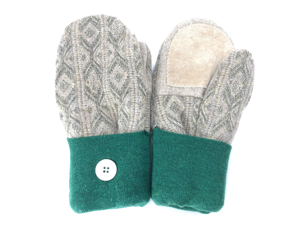 Green-Beige Lambs Wool Women's Drivers Mittens - Medium - 2150-Womens-The Mitten Company