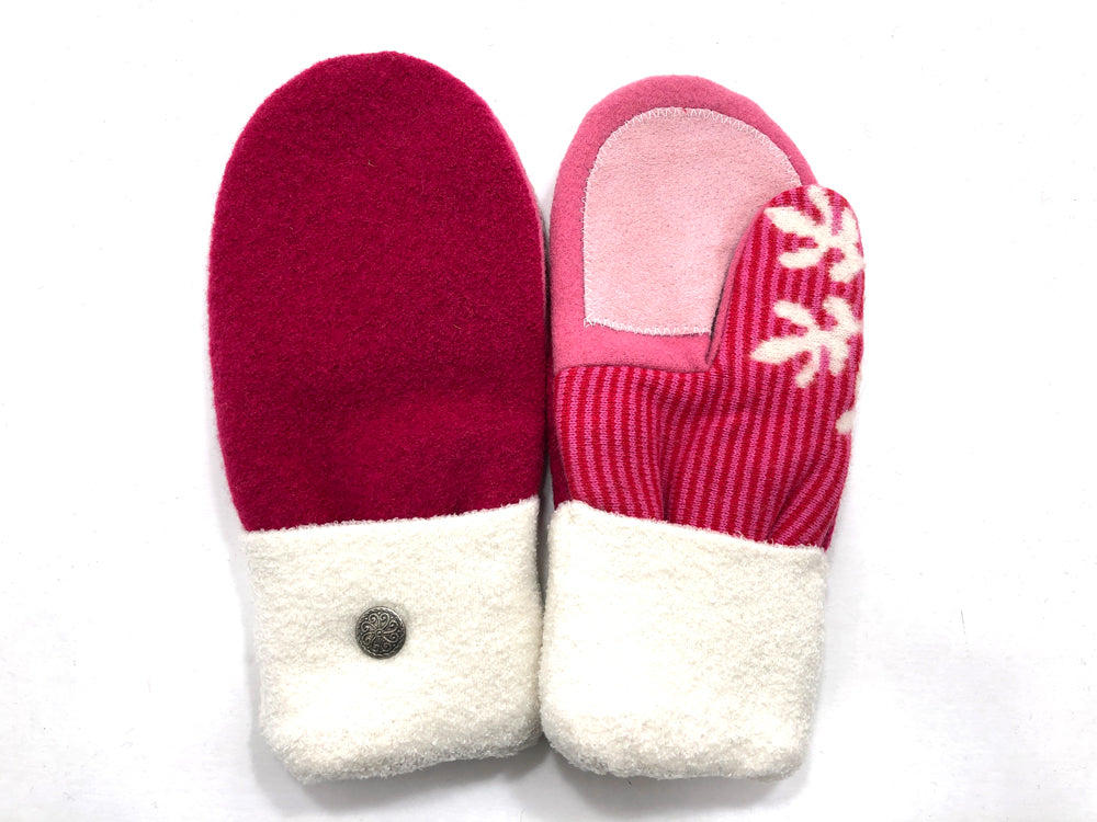 Red-White-Pink Boiled Wool Women's Driver's Mittens - Medium - 2160-Womens-The Mitten Company