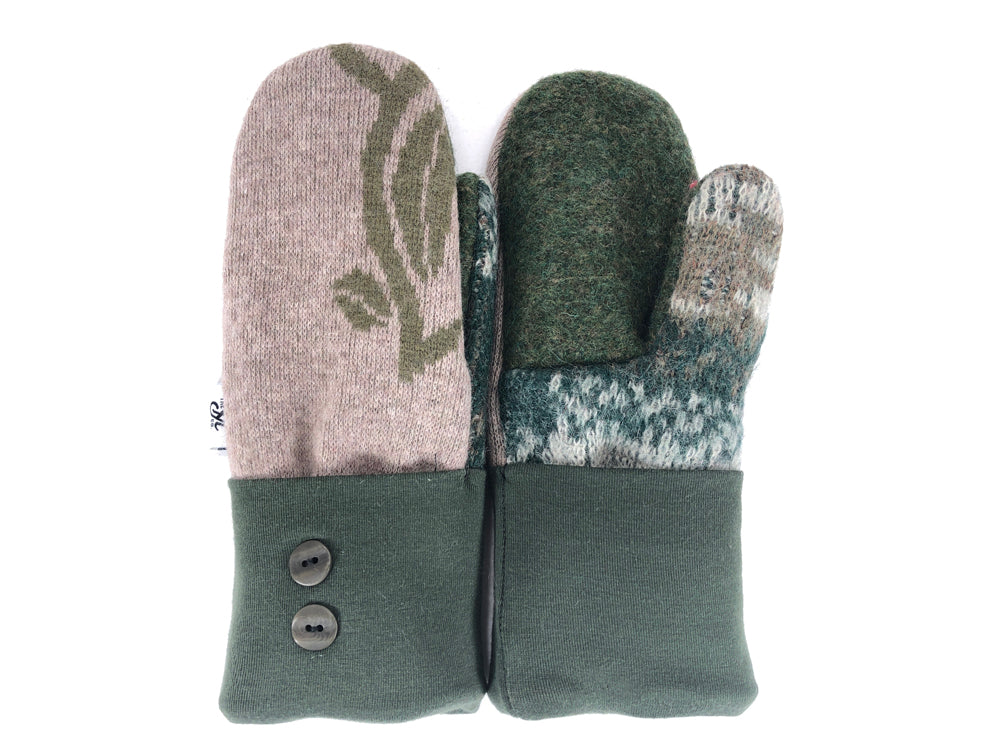 Green-Tan Merino Wool Women's Mittens - Small - 2169-Womens-The Mitten Company
