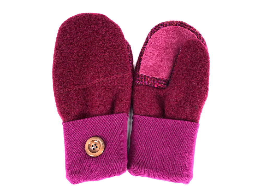 Red-Pink Lambs Wool Women's Drivers Mittens - Medium - 2206-Womens-The Mitten Company
