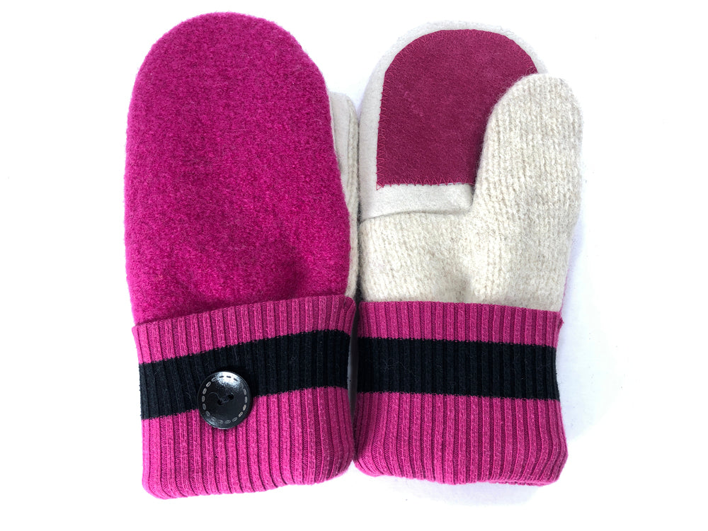 Pink-Black-White Lambs Wool Women's Drivers Mittens - Medium - 2208-Womens-The Mitten Company