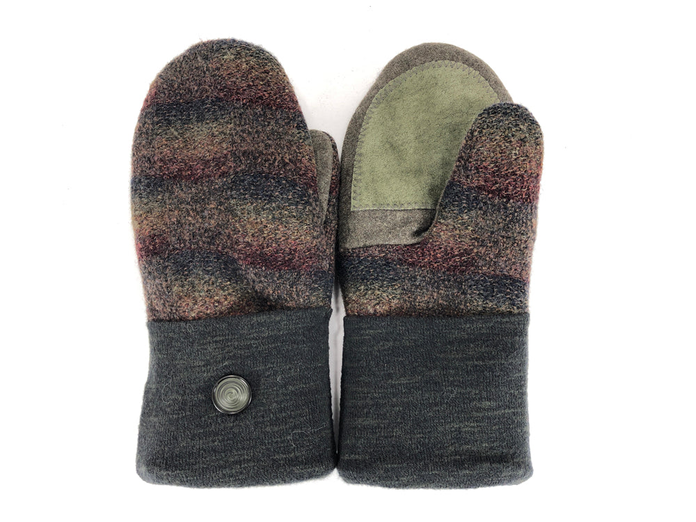 Green-Brown Merino Wool Women's Driver's Mittens - Medium - 2221-Womens-The Mitten Company