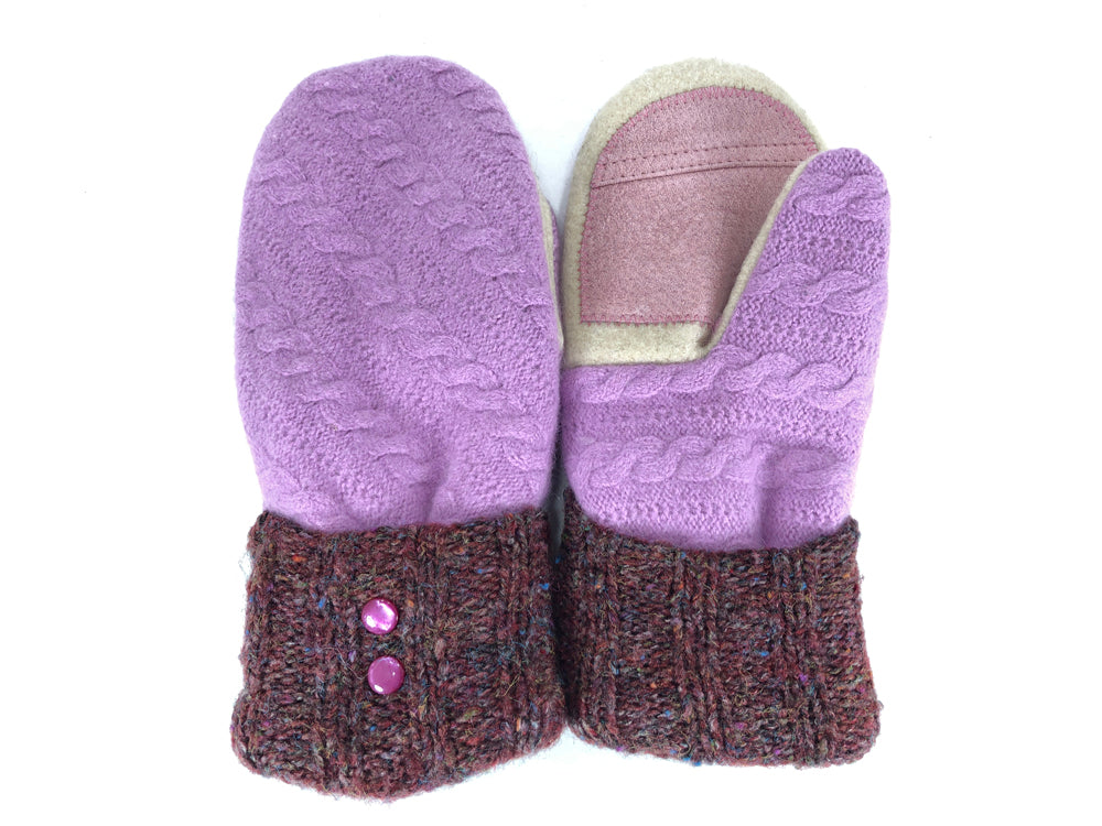 Purple-Brown-White Lambs Wool Women's Drivers Mittens - Medium - 2228-Womens-The Mitten Company