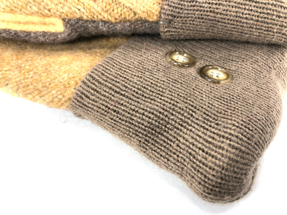 Beige-Yellow-Brown Lambs Wool Women's Drivers Mittens - Medium - 2232-Womens-The Mitten Company