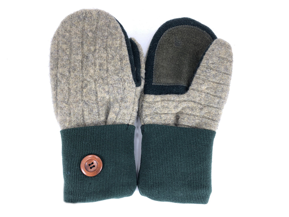Green-Tan-Brown Lambs Wool Women's Drivers Mittens - Medium - 2234-Womens-The Mitten Company