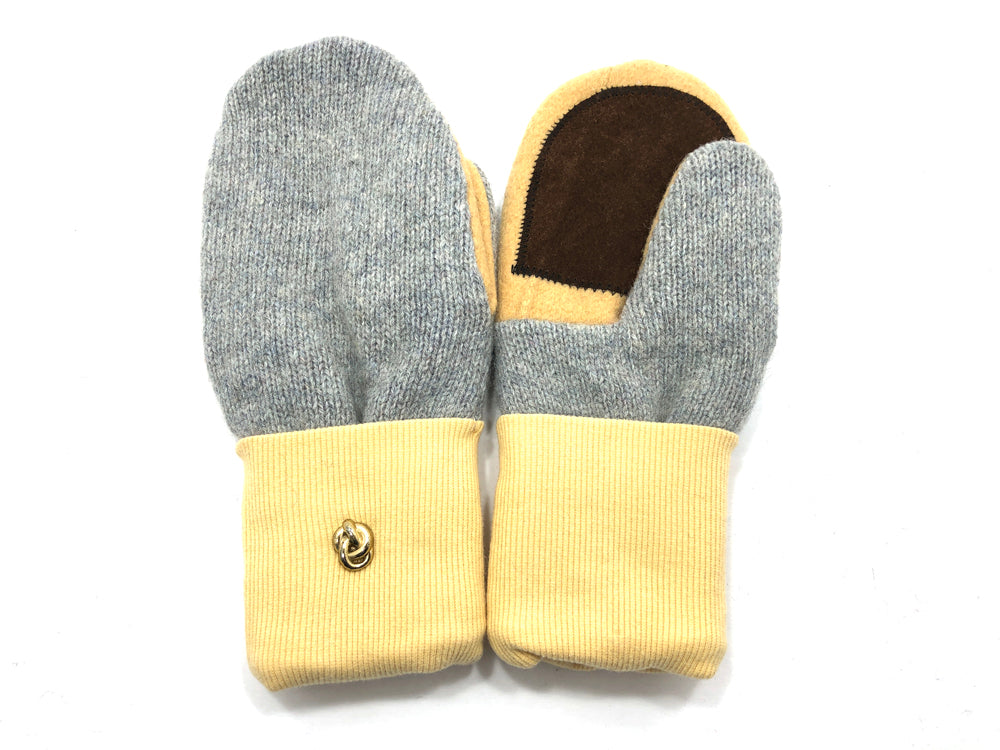 Gray-Yellow-Brown Lambs Wool Women's Drivers Mittens - Medium - 2236-Womens-The Mitten Company