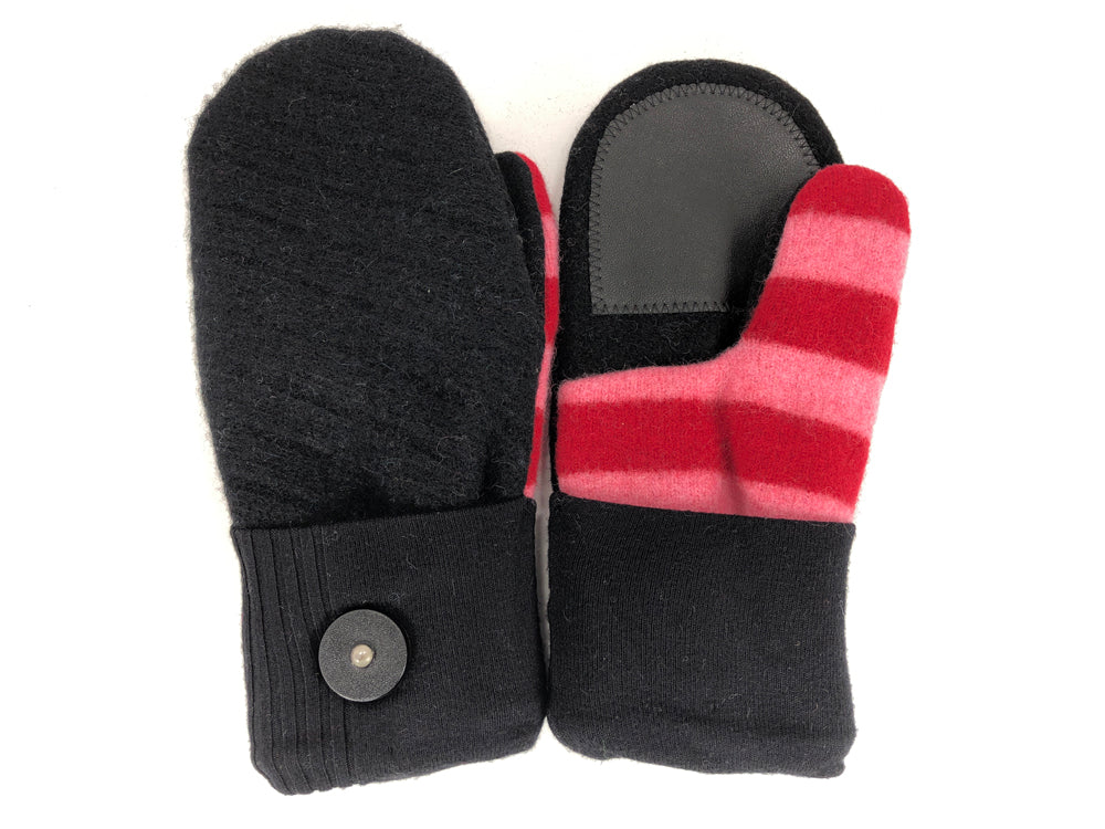 Black-Pink-Red Lambs Wool Women's Drivers Mittens - Medium - 2237-Womens-The Mitten Company