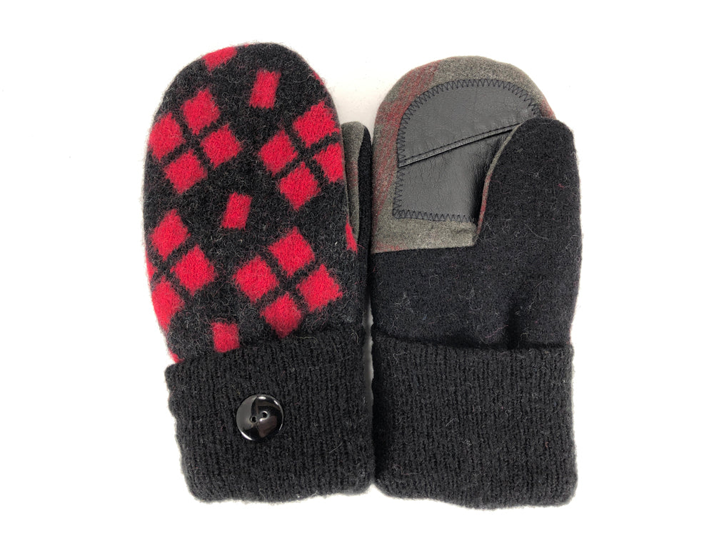 Black-Red Lambs Wool Women's Drivers Mittens - Medium - 2238-Womens-The Mitten Company