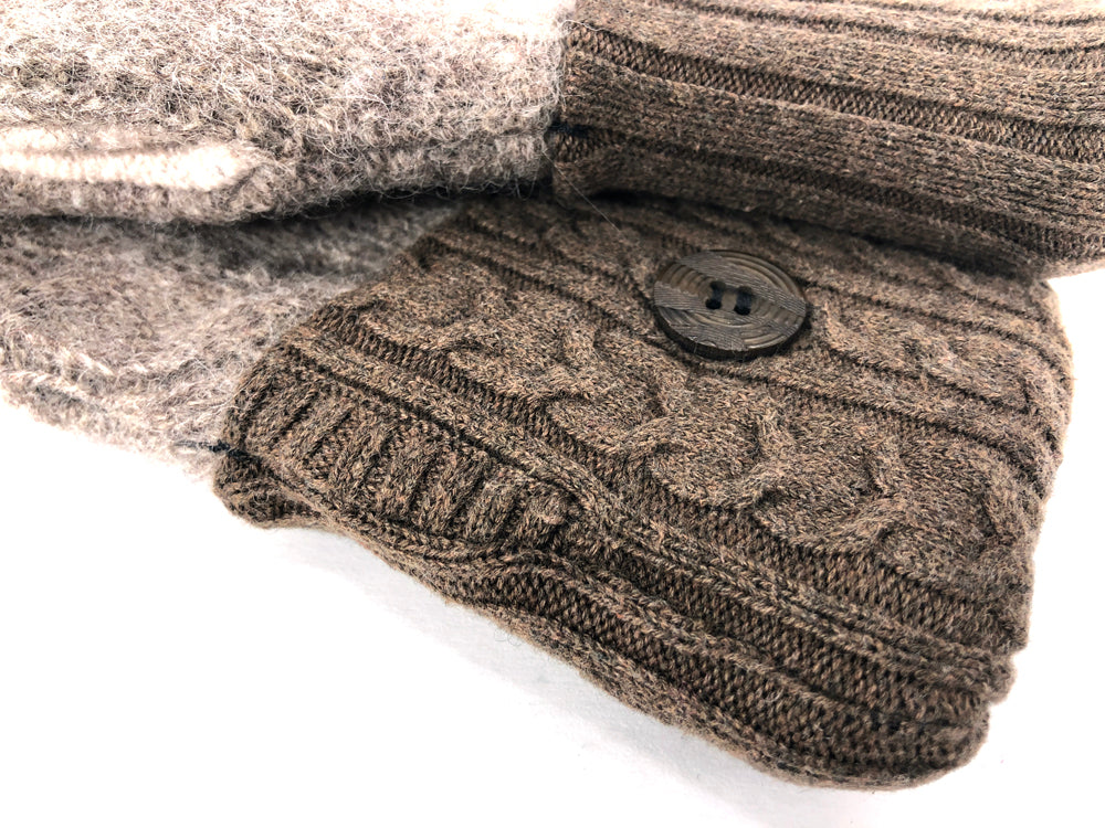 Beige-Brown-Black Lambs Wool Women's Drivers Mittens - Medium - 2246-Womens-The Mitten Company