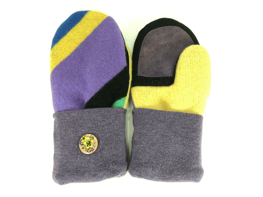 Purple-Black-Yellow Lambs Wool Women's Drivers Mittens - Medium - 2274-Womens-The Mitten Company