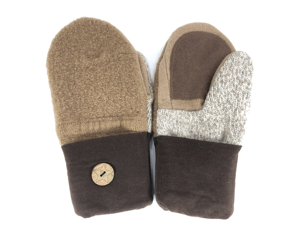 Brown-Tan Shetland Wool Women's Drivers Mittens - Medium - 2276-Womens-The Mitten Company