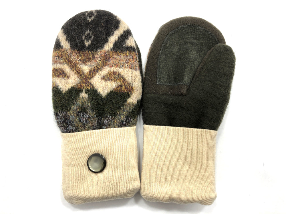 Tan-Brown-Green Shetland Wool Women's Drivers Mittens - Medium - 2278-Womens-The Mitten Company