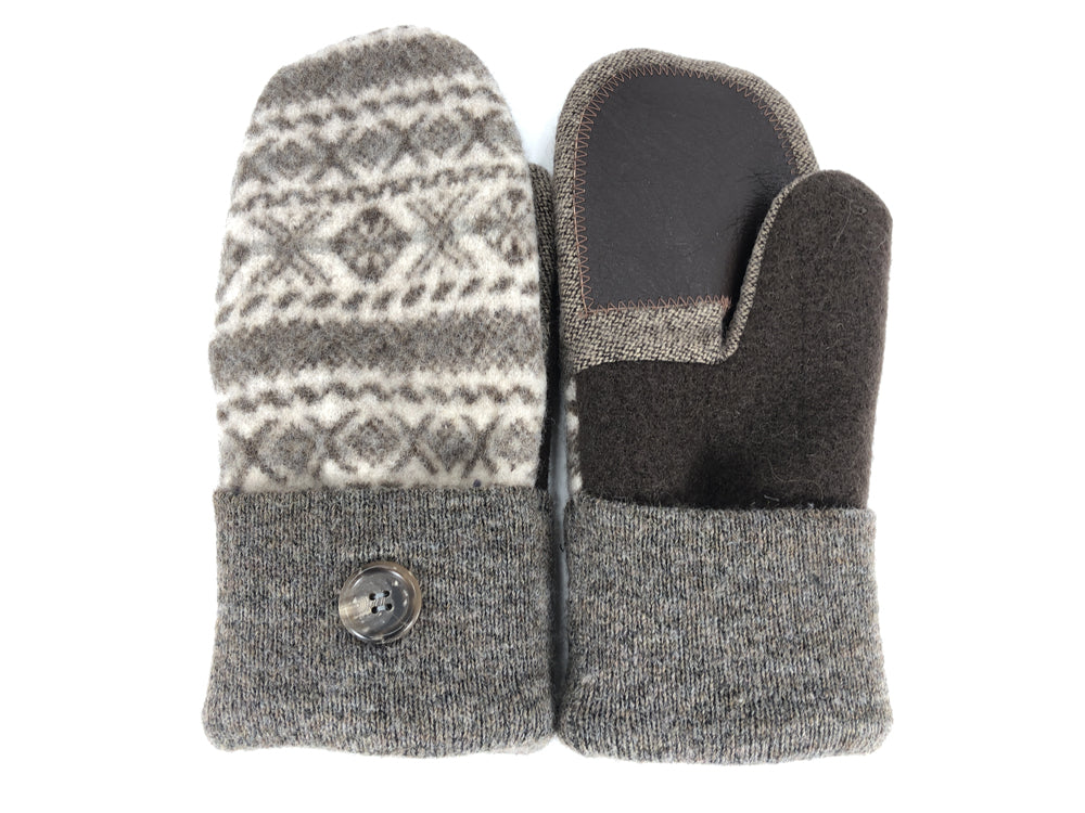 Brown-Tan Boiled Wool Women's Drivers Mittens - Large - 2292-Womens-The Mitten Company