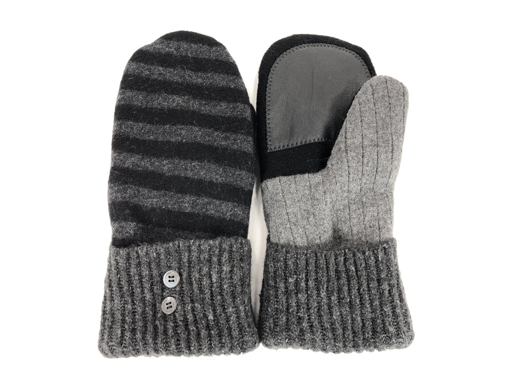 Gray-Black Lambs Wool Women's Drivers Mittens - Large - 2298-Womens-The Mitten Company