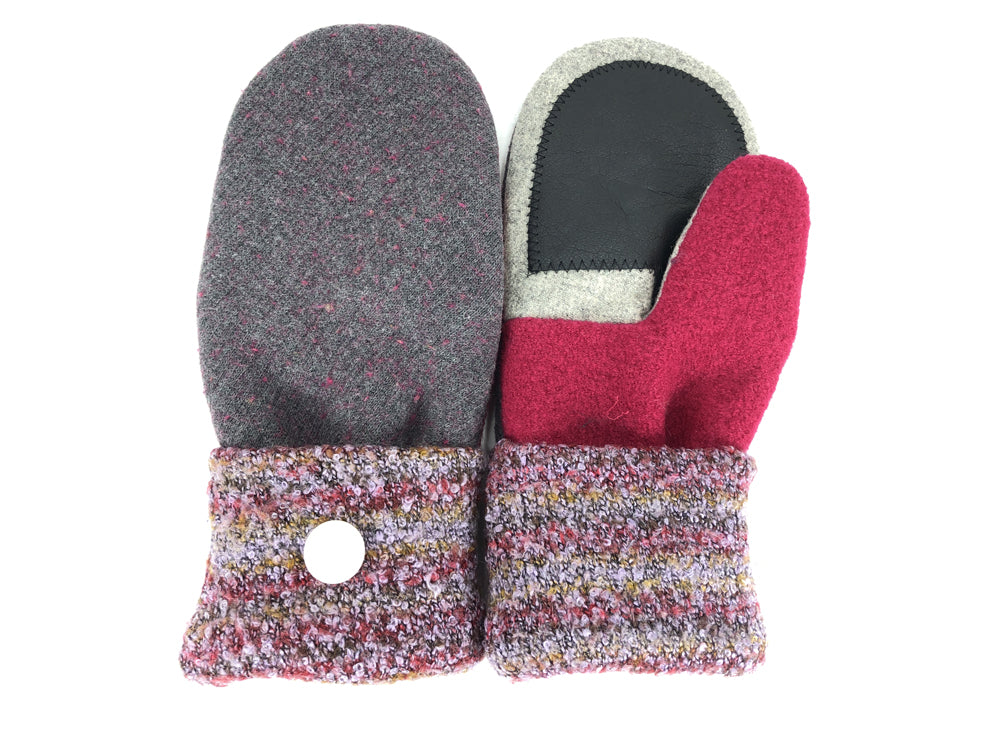 Purple-Gray-Red Lambs Wool Women's Drivers Mittens - Large - 2303-Womens-The Mitten Company