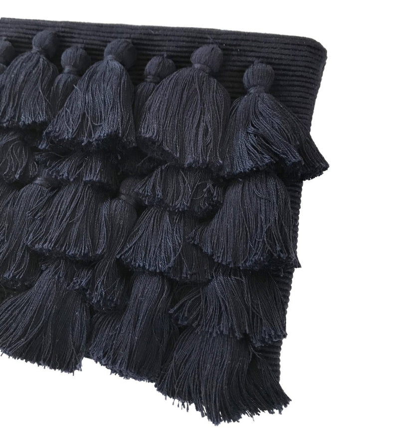 All Over Tassel Clutch: Navy