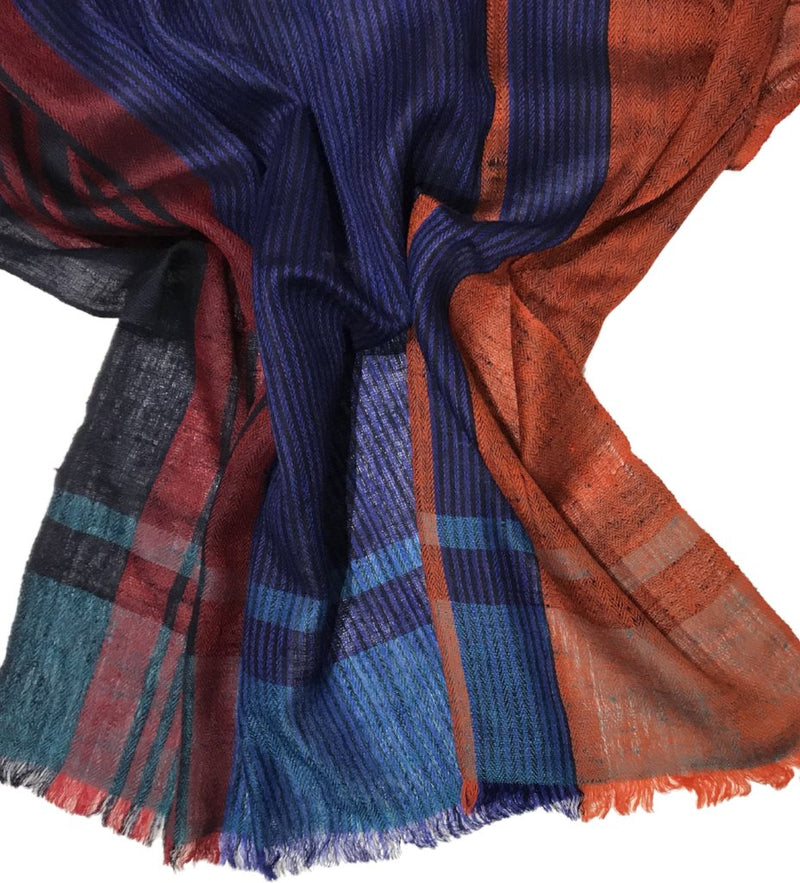 Cashmere Handwoven Scarf: Blue/Red/Orange