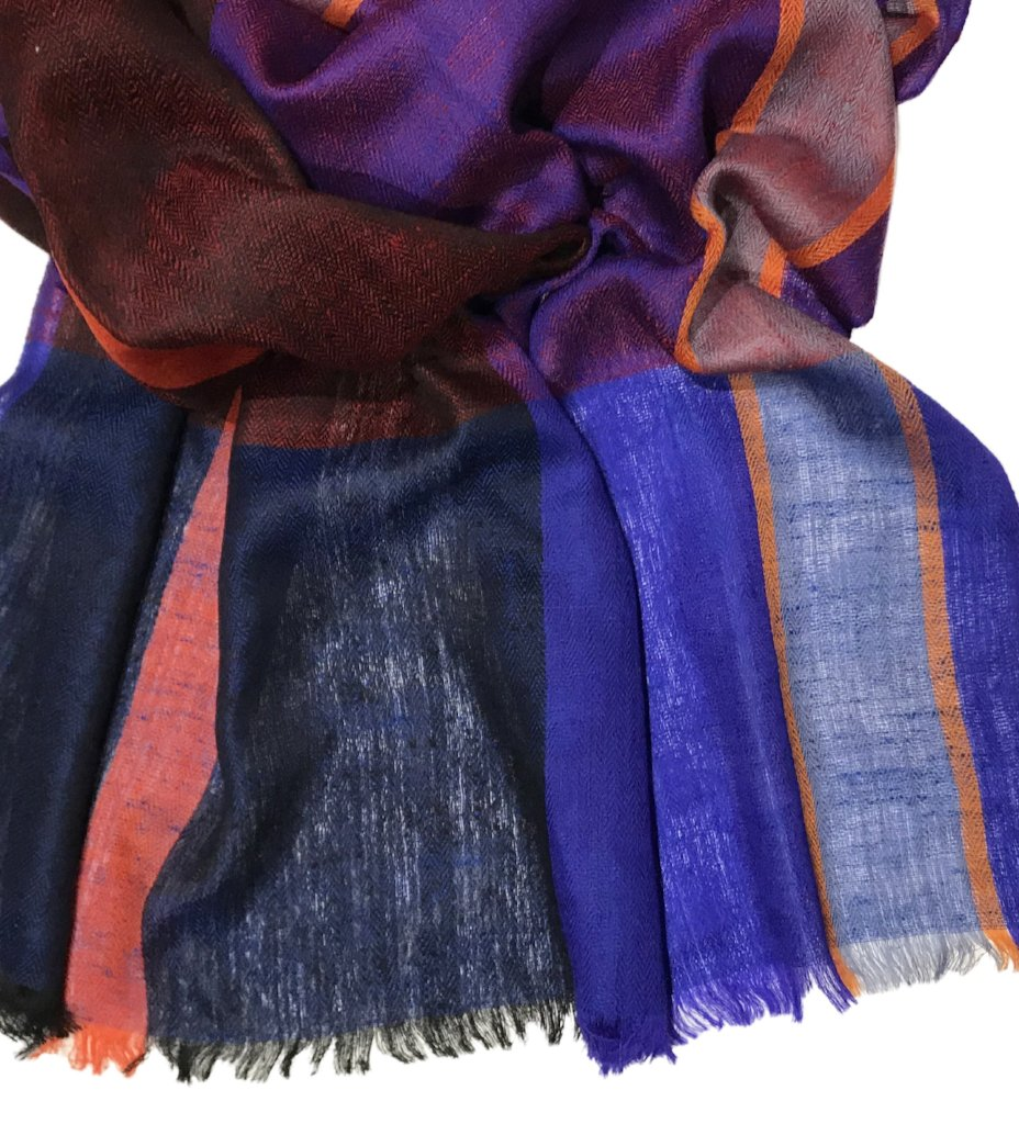 Cashmere Handwoven Scarf: Blue and Red