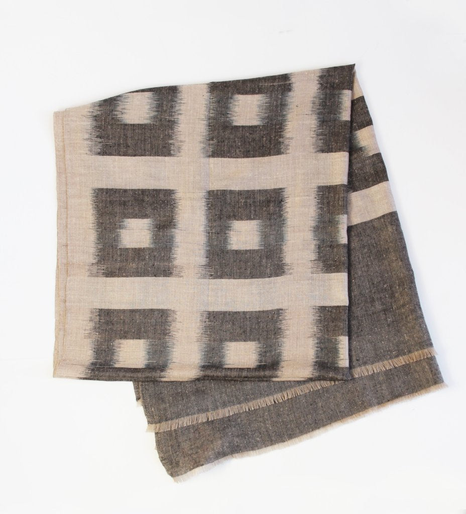 Claire Grid Shawl: Black and Beige