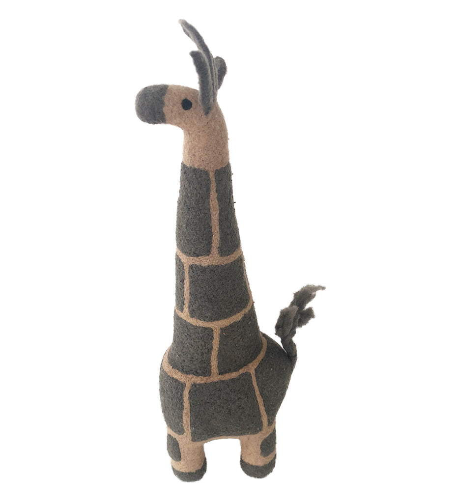 Ollie the Felted Giraffe: Grey Large
